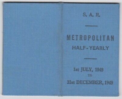 South Australia Railways SAR half yearly TRAIN TICKET Woodville to Adelaide 1949
