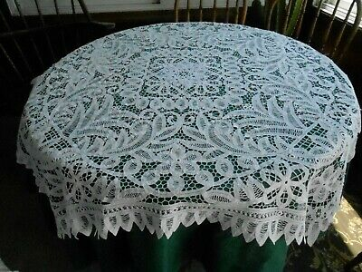 Fantastic White Battenburg Lace Tablecloth In Very Good Condition, C.1920