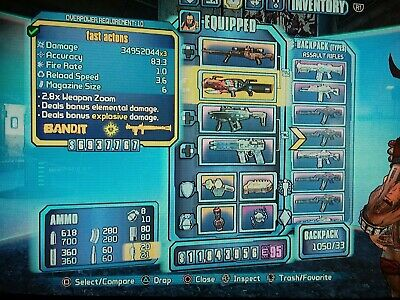 BORDERLANDS 2 PS4, All uniques! Op8 or op10, infinite backpack space