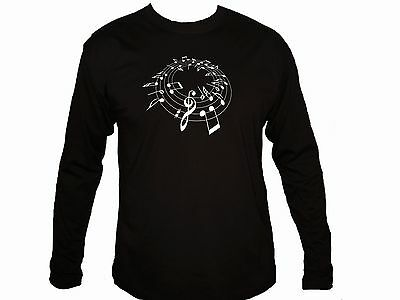 Music notes great musician gifts black 100% cotton graphic long sleeves tshirt