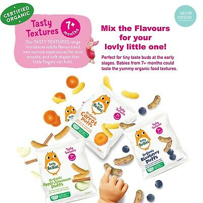 7 Month Babe Organic Snack/ Little Bellies Baby Puffs/Carrot/Apple [5 packs] 12g