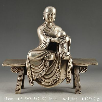 Oriental White Copper Old Handwork Hammered Vivid Monk Statue Decor Collectable