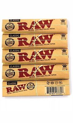 Raw Classic King Size Slim Rolling Paper - 5 Packs - Natural Extra Thin Joint