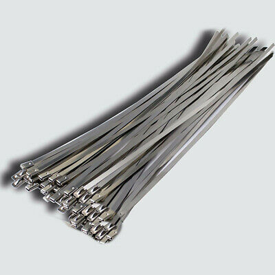 20Pcs Stainless Steel Exhaust Wrap UL Approved Locking Cable Zip Ties Metal New