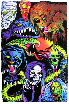 Nightmare Characters - Blacklight Poster - 23X35 Flocked Horror Scary 52858