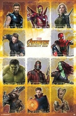 Avengers Infinity Guerre - Personnage Collage - Affiche Du Film - 22x34 - Marvel