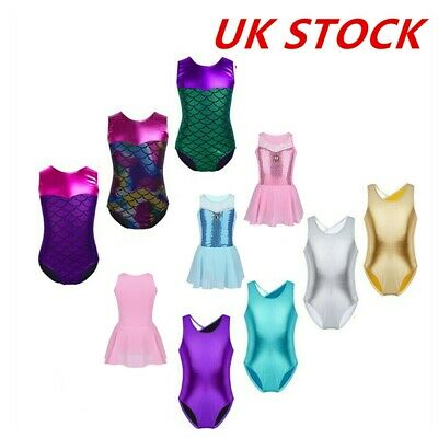 UK Girls Ballet Dance Bodysuit Kids Mermaid Gymnastics Leotards Skating Skirt