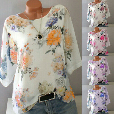Plus Size Women Floral T-Shirt Ladies 3/4 Sleeve Casual Baggy Blouse Tops 10-24