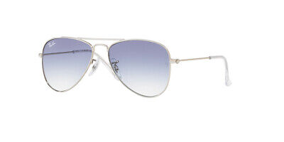 Ray Ban 9506/S 50 Aviator Junior 212/19 Silver Sole Bambino Baby Kids Blue Lens