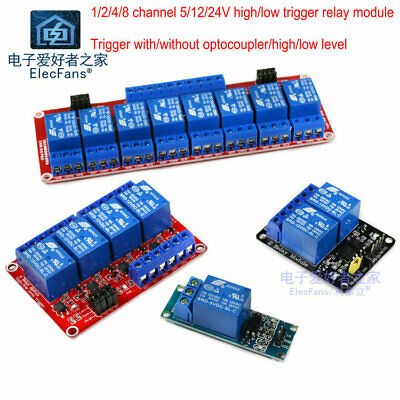 1/2/4/8 channel 5/12/24v high/low level trigger optocoupler relay module