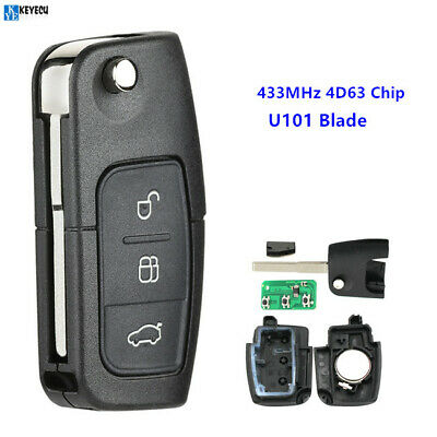 3 Button 433MHZ Flip Remote Control Car Key for Ford Focus 2 3 mondeo Fiesta