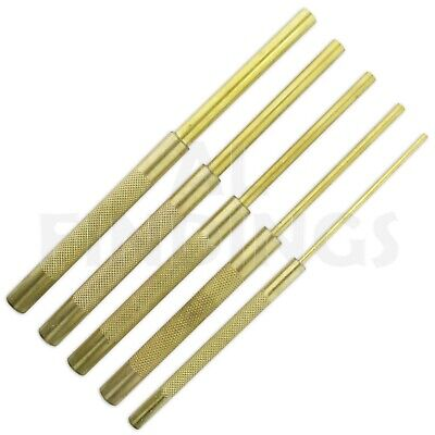 """3mm to 9.5mm LONG DRIVE BRASS PIN PUNCH SET - 5 PIECES from 1/8 to 3/8"""" tool"""