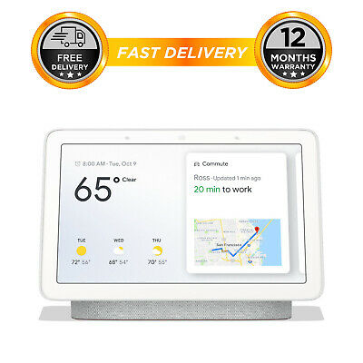 Google Home Hub Smart Voice Assistant with Touch Screen - Chalk