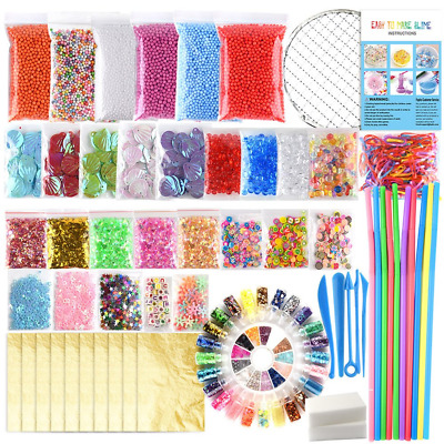 FEPITO 84 Pack Slime Supplies Kit Including Foam Balls, Fishbowl Beads, Net, No