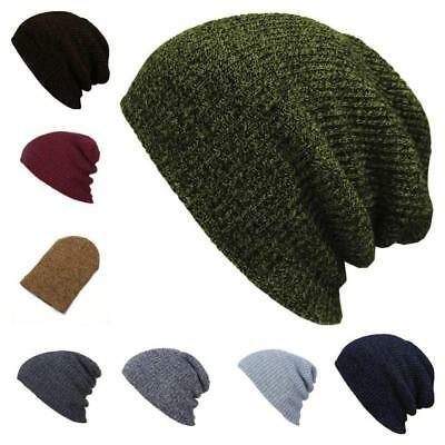 Men Women Knit Baggy Beanie Winter Hat Outdoor Ski Slouchy Knitted Cap Skull CRT