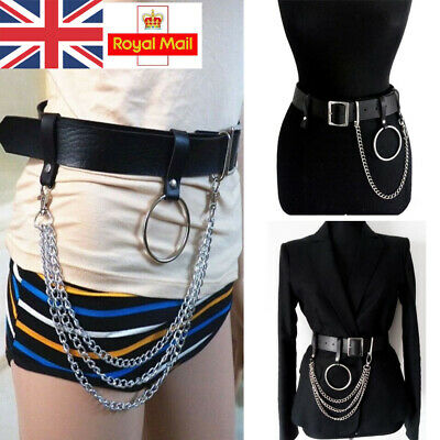 Adjustable Punk Faux Leather Belt Laser Metal Chain Hoop Rings Waist Strap Belts