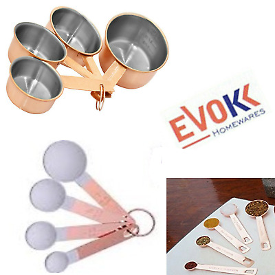 4pcs Copper Measuring Cups & Spoons Stainless Steel Kitchen Measure Fluid & Dry