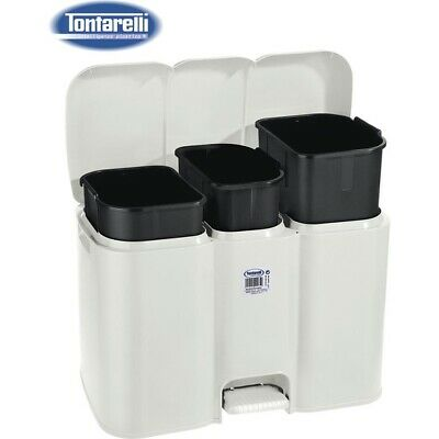 Cubo Basura Triple C/Tapa 40L Patty Crema