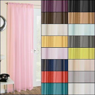 Plain Voile Net Curtain Panel With Slot Rod Top Header. Matching Scarf Available