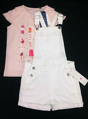 Girls Clothes F&F White Denim Dungarees Shorts & TOM TAILOR T-Shirt 6-7 Years BN