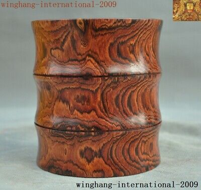 Rare China Huanghuali Wood carved Ancient Calligraphy tool brush pot pencil vase