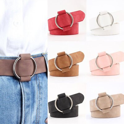 BG_ Fashion Women Solid Wide Waistband No Pin Round Circle Faux Leather Belt Rel