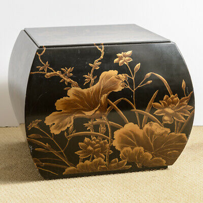 Vintage Asian Black & Gold Hand Painted Lacquered Stool