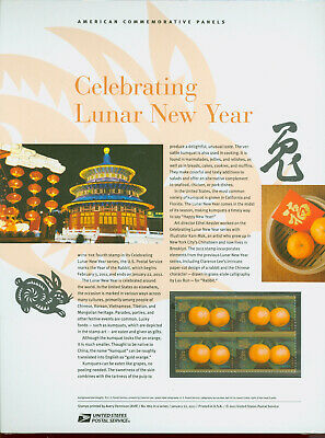 #4492 Forever- Lunar New Year Rabbit Stamp USPS #862 Commemorative Stamp Panel