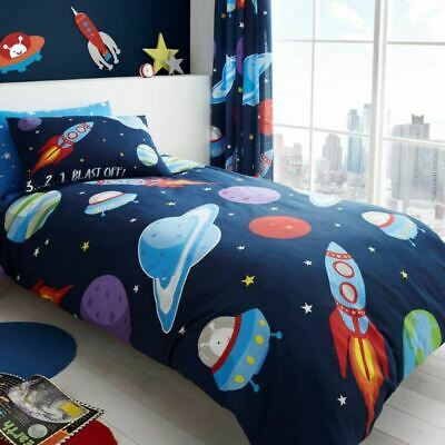 Outer Space Single Duvet Cover Set Boys Rockets Planets Spaceships