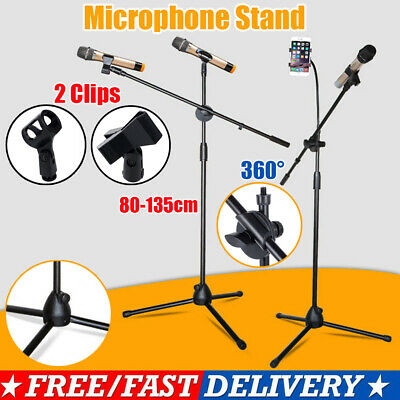 Boom Microphone Mic Stand Holder Adjustable With Free Clips Professional UK