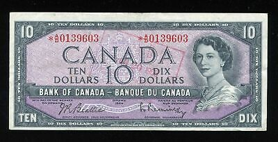 1954 Bank Of Canada $10 Dollars Replacement Note Rare *A/D 0139603  BC-40bA