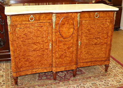 Best Marble Top French Burled Walnut Buffet Sideboard Server Restored C1890 MINT