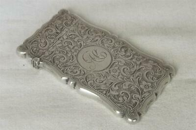 A Stunning Antique Solid Sterling Silver Edwardian Card Case Chester 1907.