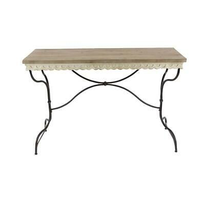 Wood Console Table Rectangle Rustic Cottage Metal Frame Hallway Indoor Furniture