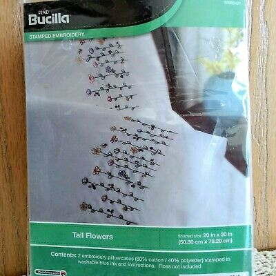 """Bucilla Tall Flowers 2 Stamped Pillowcases for Embroidery 20"""" x 30"""" WM65431"""
