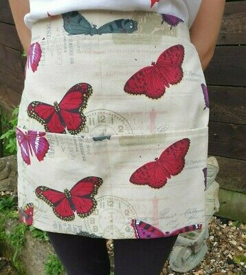 Handmade garden or kitchen apron heavy canvas fabric with butterflies free p&p