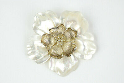 Gorgeous Sterling Silver & Carved Mother of Pearl Flower Brooch/Pendant
