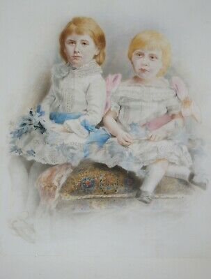 Large antique 19th century handpainted portrait of two children on glass