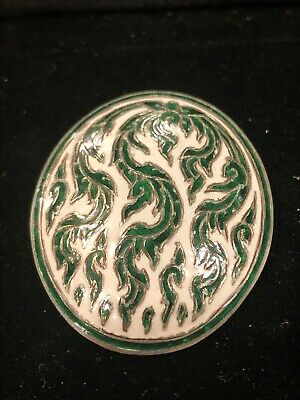 Siam Vintage Old Hand Made Silver Brooch Pin Green / White Enamel Leaf Sterling