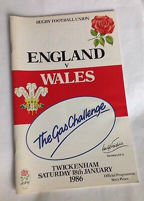 Rugby programme England v Wales 1986