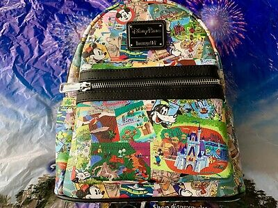 2019 Disney Parks Collage Mini Backpack By Loungefly Mickey Goofy Donald