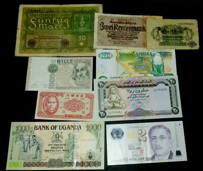 World Lot Collection Singapore Germany Uganda Italy Africa Europe Polymer Paper