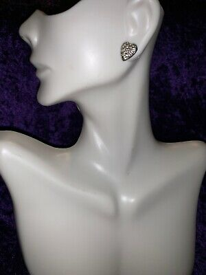 Gorgeous Sterling Silver Roman Glass Signed Earrings