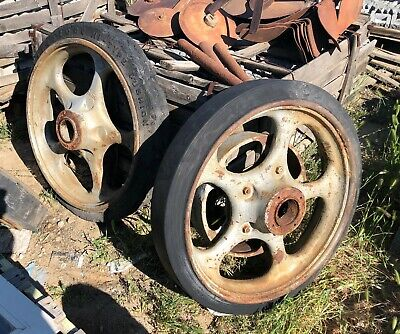 3 Vintage Cast Iron Tractor Industrial Wheels Farm Truck ~ Very Heavy