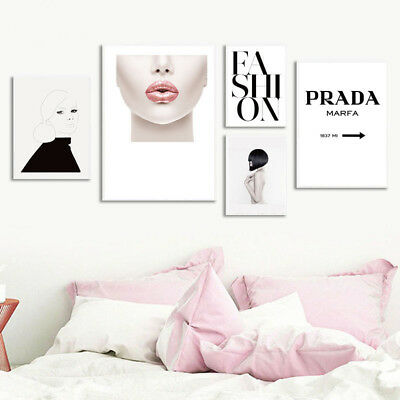 Fashion Woman Lips Canvas Poster Nordic Wall Art Print Girl Bedroom Decoration