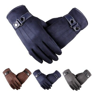 Men's Outdoor Winter Ski Warm PU Leather Gloves Touch Screen Driving Cycling CT0