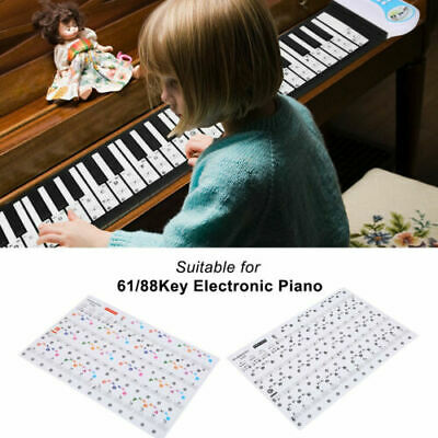 Pro Removable Piano Keyboard Music Note Stickers (for 66/88 keys) Black/Colored