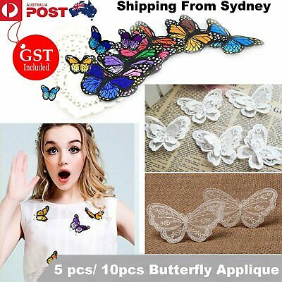 UP 10pcs Vintage Butterfly Embroidered Lace Trims Wedding Applique Sewing Craft
