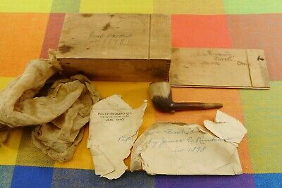 Antique 1898 Clay Tobacco Pipe wt Wood Box Papers - Forest Lima Ohio Mailman