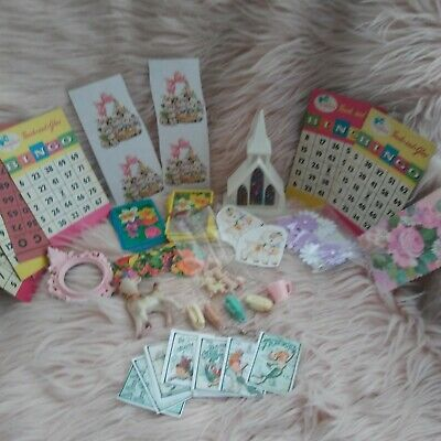 Kitschy Craft Supply Mixed Media Deer Lamb Bingo Card Lot stickers decals lambs
